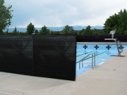 pool covered with porivacy netting black