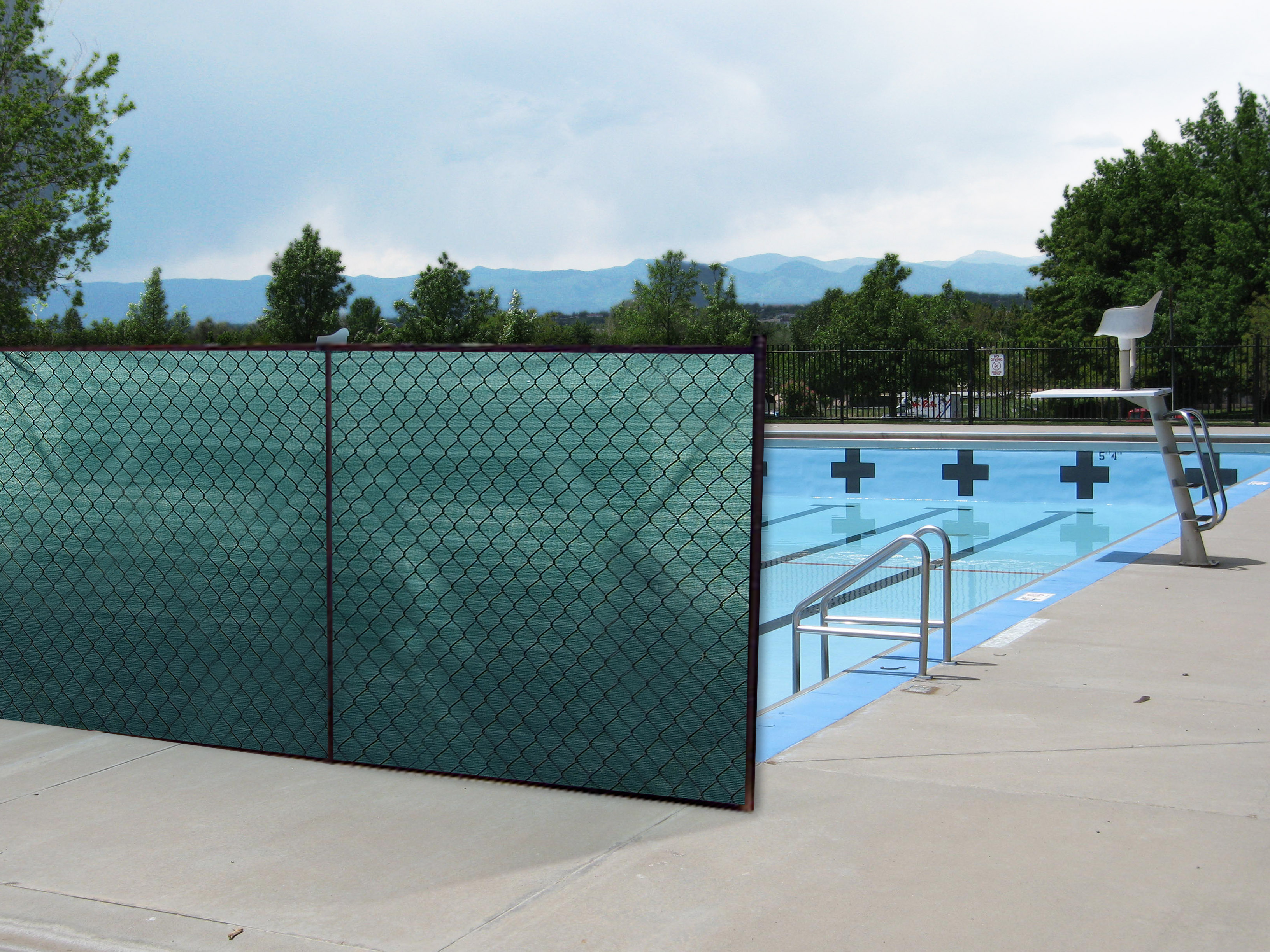 pool covered with privacy netting